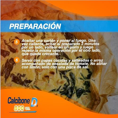 Preparación de tortilla de Acelga 2 - Calcibone