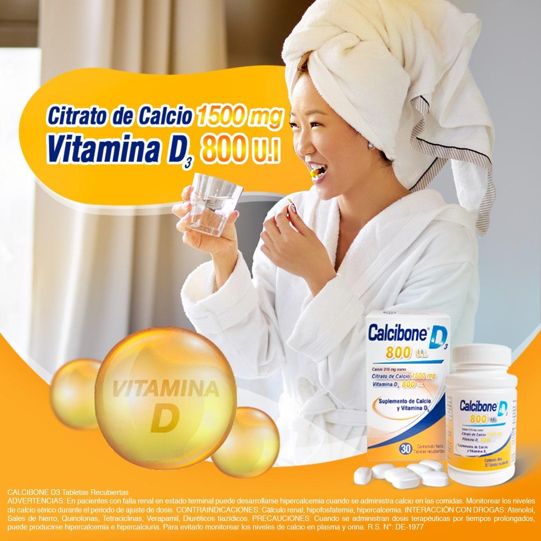Calcibone D es la formulación perfecta de 1500 mg. de Citrato de Calcio más 800 UI de vitamina D
