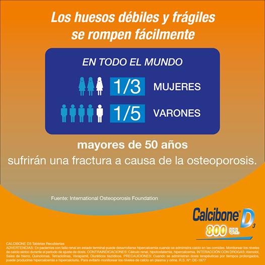 Los huesos débiles y frágiles se rompen fácilmente - Calcibone D