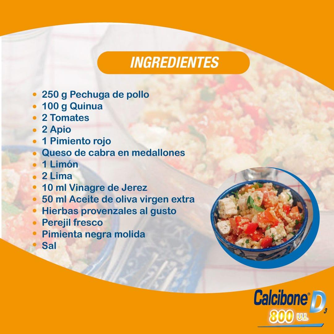 Receta de ensalada mediterránea de quinua con pollo - Calcibone D